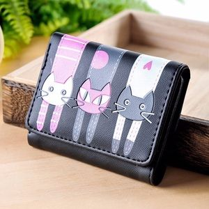 Handbags - Vegan Leather Black Cat Wallet